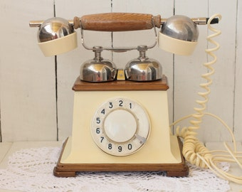 Vintage Beige telephone Rare rotary phone Antique phone White Soviet telephones Soviet telephones Gift for her Rotary phone working