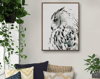 Bird Art, Owl Painting, Wall Decor, Watercolor Print, Nordic Art Print, Large Art, Watercolor Art, Forest Art, Wilderness Poster, Owl Art