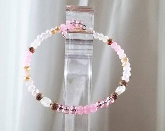 Dainty Moonstone Rose Pink Bracelet, Bangle, Rose Gold Plated, Natural and Swarovski Crystal