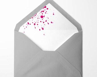 Neon Pink Ink Splash lined envelopes - pack of 10