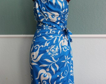 1960's 1970's Blue Hawaiian Sarong Dress Small - Medium 26 waist