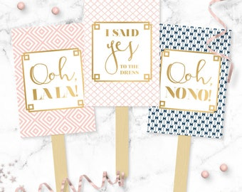 Custom Patterns Say YES To The Dress Paddles - Wedding Dress Shopping Signs - Yes No Paddles