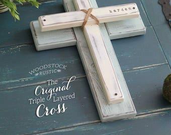 "Rustic Christian gift, gift religious decor, Christian gift for her, Christian gifts, Personalized Name Cross, large wooden cross, 16""x12"""