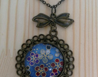 """Pendant/Necklace """"Sakura Navy"""" : Necklace Cherry Blossoms Pattern,Washi Paper,Japanese,Flowery Paper,Colors Beads,Star Charm,Zen,Gift"""