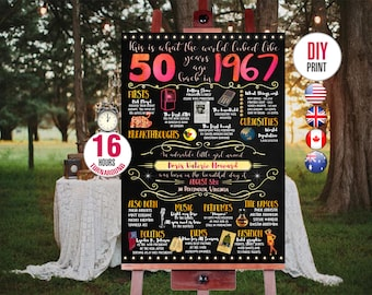 50th birthday gift for woman - 1967 Birthday Chalkboard Poster, Personalized and Printable, 001_50