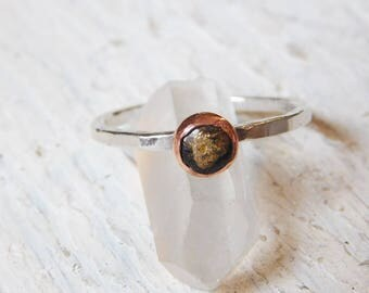 Black Obsidian and Copper Fine Silver and Copper Ring, Obsididan Stacking Ring,