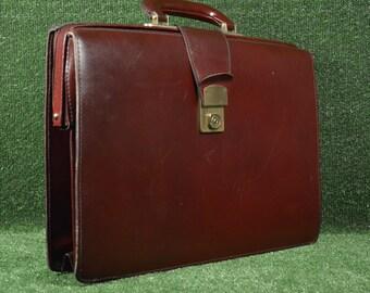 Leather business bag - Vintage natural leather bag - Leather briefcase - Brown leather handle bag - Mens busines bag - Office bag