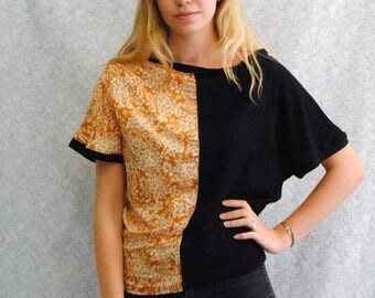 "T-shirt ""Testa"" reversible black jersey and viscose with orange flower pattern"