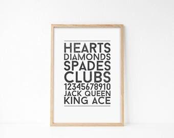 Playing Cards Printable Wall Art, Classroom Printable Art, Kids Room Wall Art, Game Room Art, Vintage Art Printable, Thank You Gift