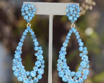 extra large teal rhinestone earrings, extra large aqua blue pageant earrings, extra large hoop teal/aqua prom earrings