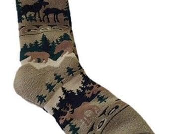 Men's Art Socks,Funny Socks,Moose Socks, Naughty Reindeer Games, Socks,Artist,Gift for Men,Every Day Nature Gift