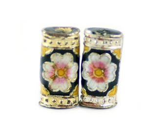 Cloisonne Rectangle Multi-Color Black Flower Beads 18x10mm - Package of 2 Pieces