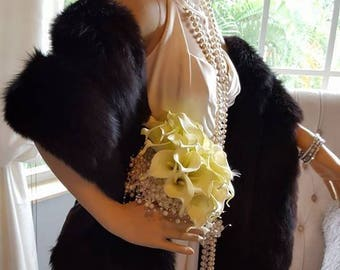 Luxury Vintage Black Fox Stole - Natural Black Fur Stole - Wedding Fur Shawl -Great Gatsby style - Real Fox Fur - Hollywood Starlet