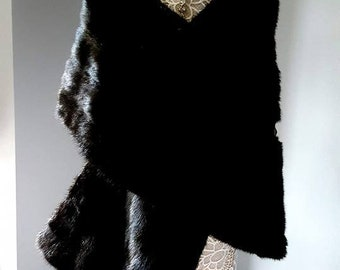 Luxury Vintage Black Mink Stole  Wrap Shawl - Museum Quality Couture Fur Collector's Item - Straight Stole by Famed 20th Century Designer
