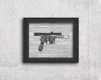 Star Wars Han Solo Blaster - Lino Cut Print