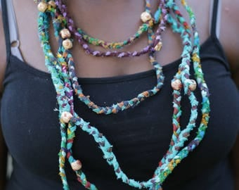 African Chitenge Necklace -- Multi-Strand Fabric