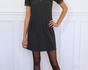 Dress short sleeve Scoop Neck gray steel color