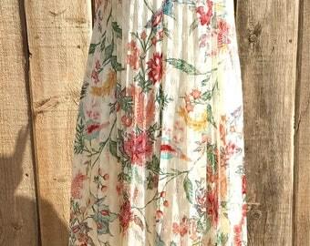 Vintage 60-70's Sundress ,Pleated Lace Boho Hippy Floral Dress,Bohemian Vintage Hippie Maxi Dress,XS-SM