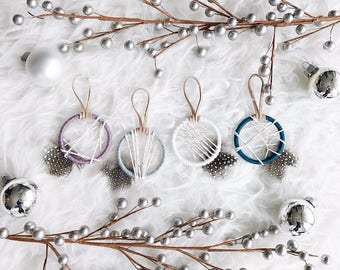 Coastal Christmas Ornaments, Small Dreamcatcher Ornaments, Christmas Gifts for Her, Blue Christmas, Boho Christmas Gift Ideas for Teens