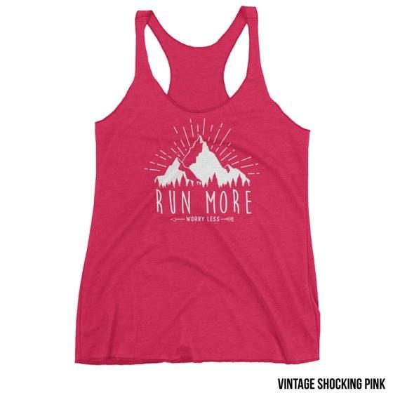 Running Tank | Runner | Run More Worry Less Racerback Tank| Super-Soft Vintage Feel | Running Outdoors Trail | Gift for Runner | Run