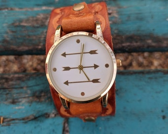 Tooled Leather Arrow Western, Southwestern, Boho Womens Adjustable Wrist Watch