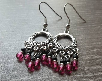 Fuchsia, Czech glass bead chandelier earrings