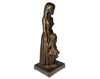 Leonardo Art Works Mother Daughter Bronzed Plaster Art Sculpture