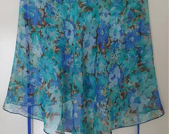 Ballet Wrap Skirt:  Green - Blue flowers