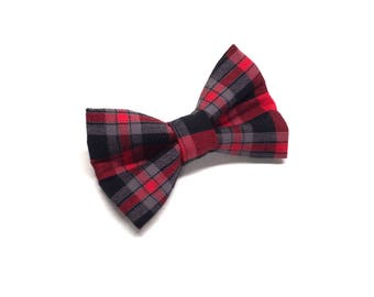 Cabin Plaid Dog Bow Tie, red dog bowtie, holiday dog bowtie, dog bow tie, plaid dog bowtie