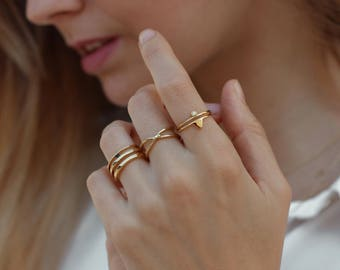Stacking rings - set of 3 stack rings, simple rings, minimal rings, gold rings - MINIMALIST JEWELRY