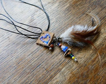 Essential Oil Diffuser Necklace - Hand Stitched - Eco-Friendly - Detachable Feather Clip! Made w. Darn Good Yarn & Humanly Sourced Feathers