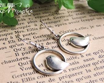 Circle silver birds bird cage earrings