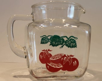 Vintage Federal Glass Pitcher - Federal Tomato Jug - Tomato Pitcher - Federal Glass Juice Pitcher