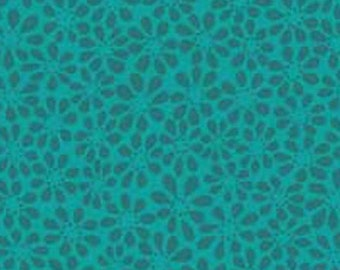 Red Rooster Victory by Gudrun Erla of GE Designs in Turquoise Flowers; 1/2 yard woven cotton fabric