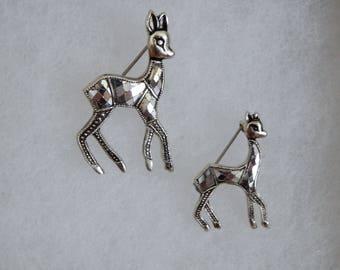 Deer Pins, Silvertone Deer Pin Set, Vintage Deer Pin Set, Mom and Baby Deer Pin Set
