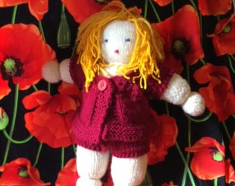 Blondie Doll with knitted Red Suit