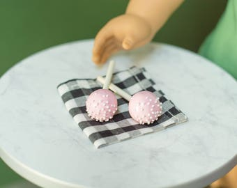 Party Cake Pops Set of 2 - Back to School - Handmade Polymer Clay Food for 18 Inch Dolls