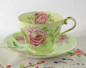 Rose Aynsley tea cup and saucer, mint green teacup