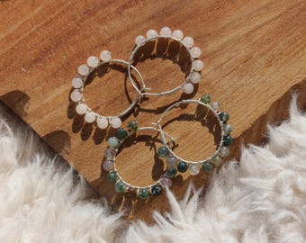 Agate / Rose Quartz beads hoop Creole