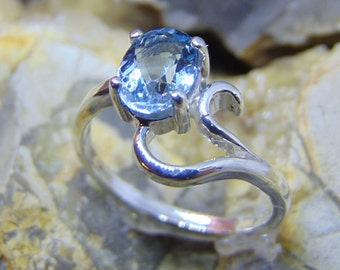 Swiss blue topaz modern style ring bright blue solitaire rings filigree solid sterling silver blue topaz ring size fast free shipping
