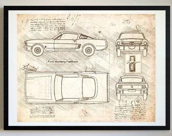 Ford Mustang Fastback (1965) Da Vinci Sketch, Mustang Artwork, Blueprint Patent Prints Posters, Mustang Decor, Art, Car Art, Cars (#306)