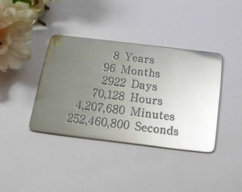 Personalised 8th Wedding Anniversary Gift For Him Eight Year Custom Card
