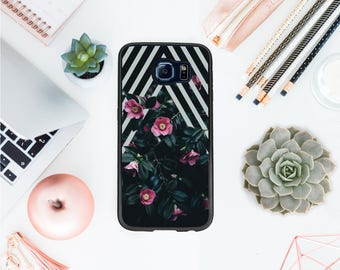 Valentines day Floral case for Samsung S8 geometric case for Samsung S7 protective hard cover roses phone case goth phone case OT85