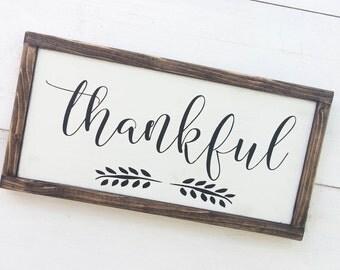 Thankful Sign on Wood, Wooden Thankful Sign, Framed Thankful Sign, Farmhouse Style Sign, Farmhouse Thanksgiving Decor, Thankful Sign Kitchen
