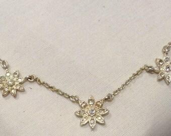 Vintage AVON Crystal Silver Necklace, Diamanté, Crystals Silver Chain Necklace 4871-60