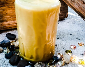 """Pure Beeswax Drip Pillar Candle 3"""" wide & up to 9"""" tall"""