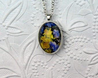 Purple and Yellow Pansy Photo Necklace Photo jewelry Pansy Theme Flower Jewelry Nature Photography