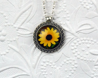 Sunflower Photo Necklace in Silver Sunflower Pendant