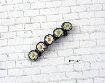 Daisy Barrette in Bronze Setting Flower Barrette Flower Hair Clip Photo Jewelry Nature Jewelry Flower Jewelry