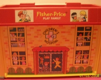 Fisher Price Little People Play Family Children's Hospital  Building With Fold Out Cover  Elevator Works 1976 With Carrying Handle No. 931